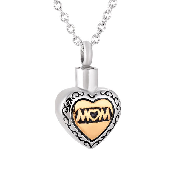 Cremation Necklace - Mom Heart Shaped Cremation Urn Necklace