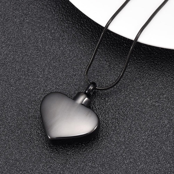 "Cremation Necklace - ""Mom, Love You Forever"" Heart Shaped Cremation Urn Necklace With Rhinestone"