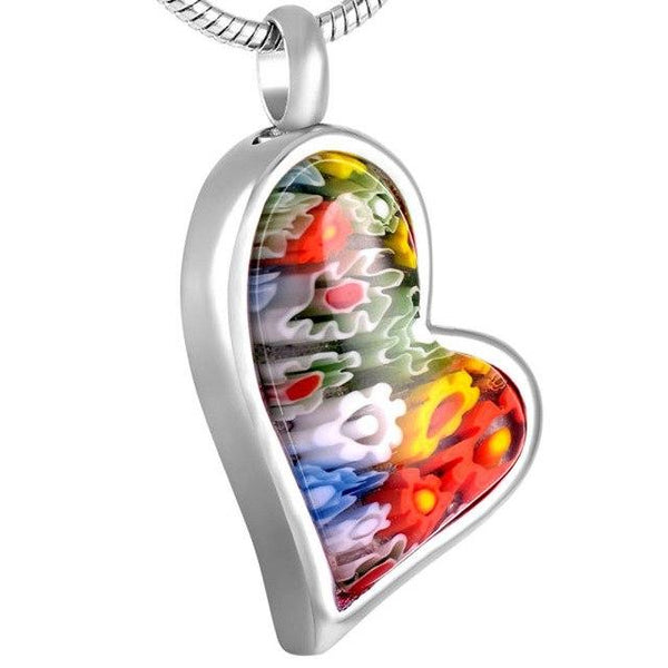 Cremation Necklace - Multi-Color Murano Glass Heart Shaped Floral Cremation Urn Necklace