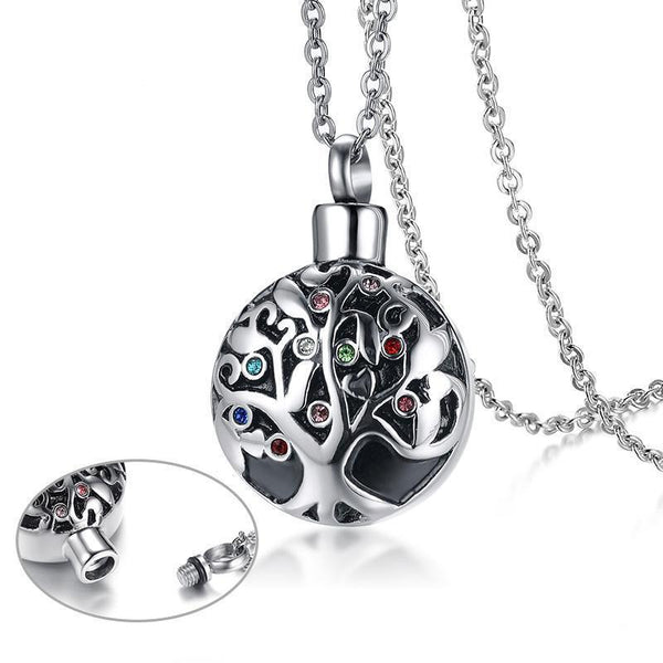 Cremation Necklace - Multi-color Rhinestone Cylinder Tree Of Life Cremation Urn Necklace