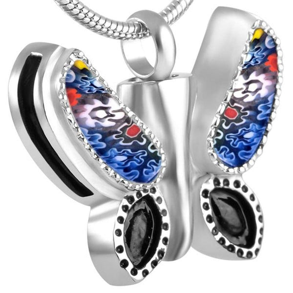 Cremation Necklace - Murano Glass Butterfly Crematino Urn Necklace