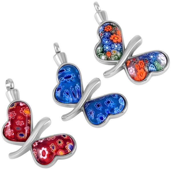 Cremation Necklace - Murano Glass Butterfly Cremation Urn Necklace