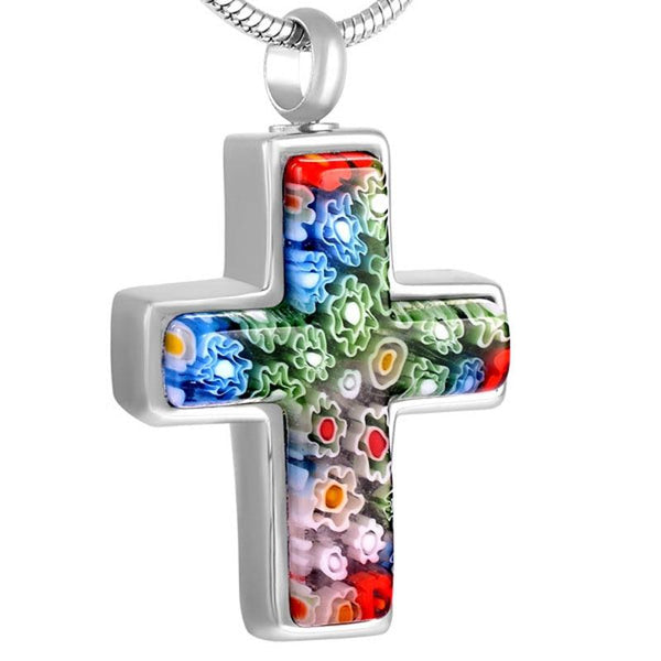 Cremation Necklace - Murano Glass Cross Cremation Urn Necklace