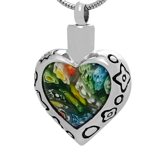 Cremation Necklace - Murano Glass Heart Shaped Cremation Urn Necklace