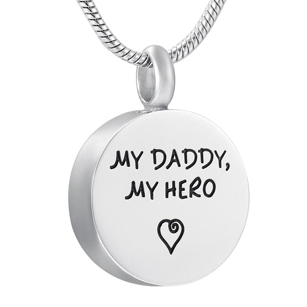"Cremation Necklace - ""'My Daddy, My Hero"" With Heart Engrave Urn Necklace"