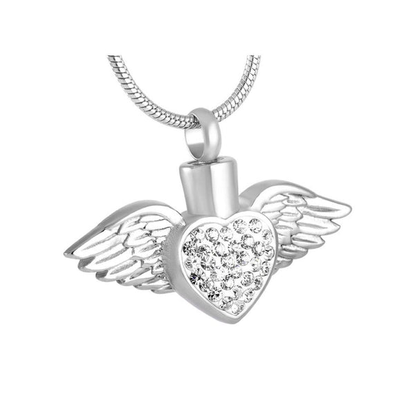 Cremation Necklace - New White Crystal Heart & Angel Wing Memorial Urn Necklace