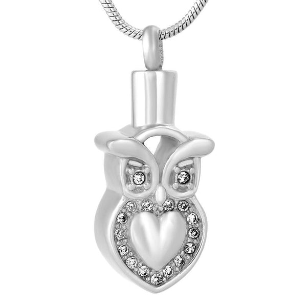 Cremation Necklace - Owl Heart Cremation Urn Necklace With Gemstones