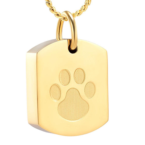 Cremation Necklace - Paw Print Dog Tags Cremation  Necklace
