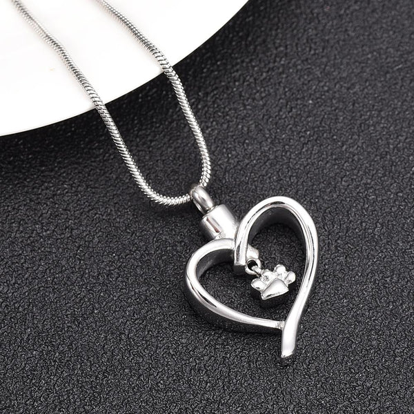 Cremation Necklace - Paw Print In Heart Cremation Urn Necklace