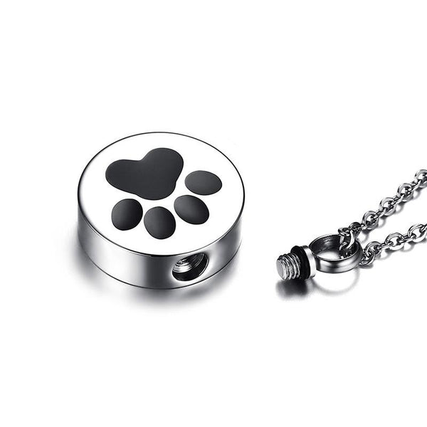 Cremation Necklace - Paw Print Pet Urn Cremation Necklace