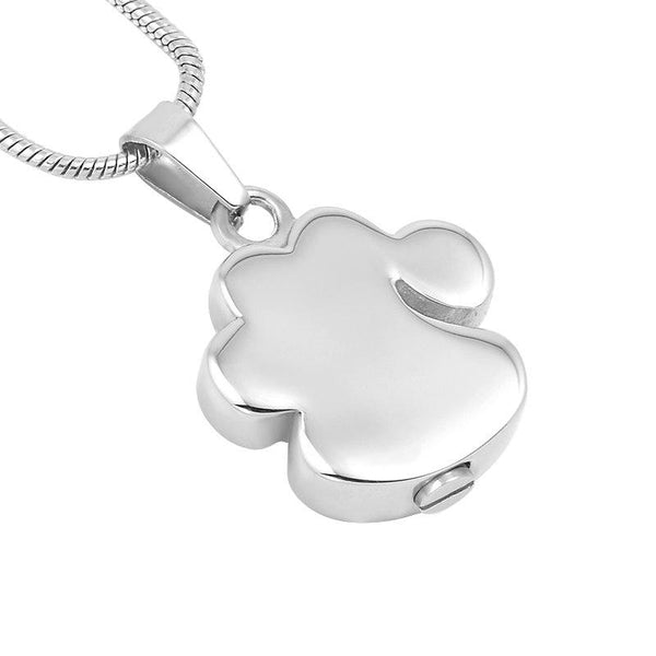 Cremation Necklace - Pet Paw Cremation Urn Necklace With Rhinestones