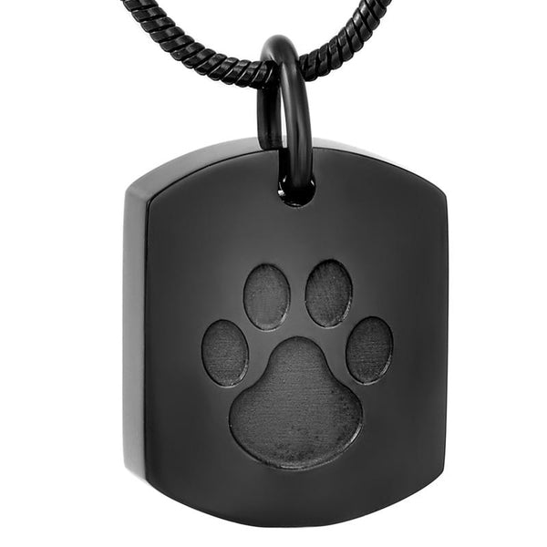 Cremation Necklace - Pet Paw Dog Tag Cremation Urn Necklace