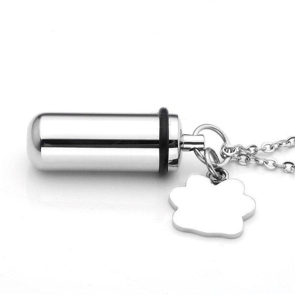 Cremation Necklace - Pet Paw With Cylinder Cremation Urn Necklace