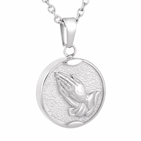 Cremation Necklace - Praying Hands Cremation Urn Necklace