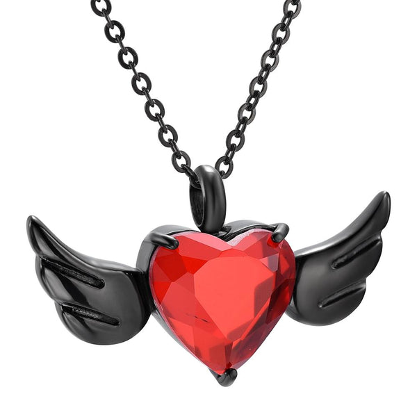 Cremation Necklace - Red Crystal Heart & Angel Wing Cremation Urn Necklace