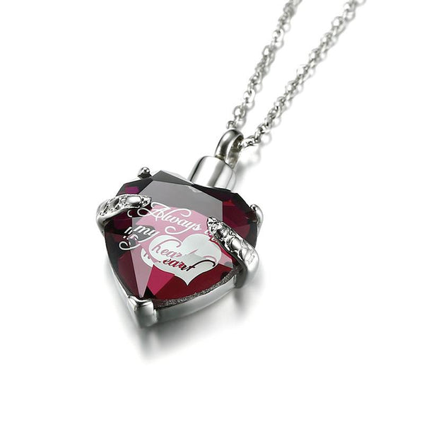 Cremation Necklace - Red Crystal Heart Urn Necklace Etched Always In My Heart