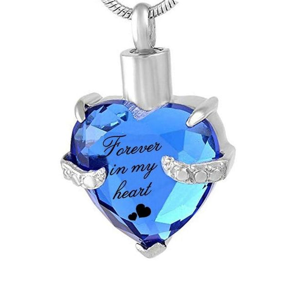 "Cremation Necklace - Rhinestone Heart Shaped ""Forever In My Heart"" Engraving Urn Necklace"