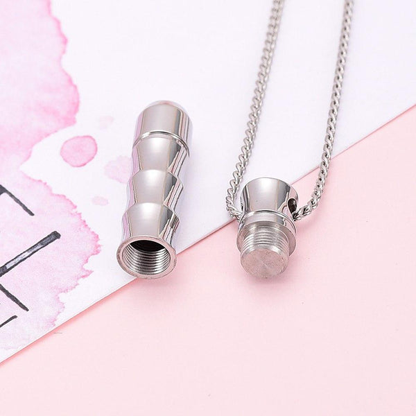 Cremation Necklace - Ribbed Cylinder Tube Cremation Urn Necklace