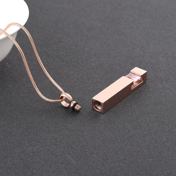 Cremation Necklace - Rose Gold Square Column Cremation Urn Necklace With Gemstone