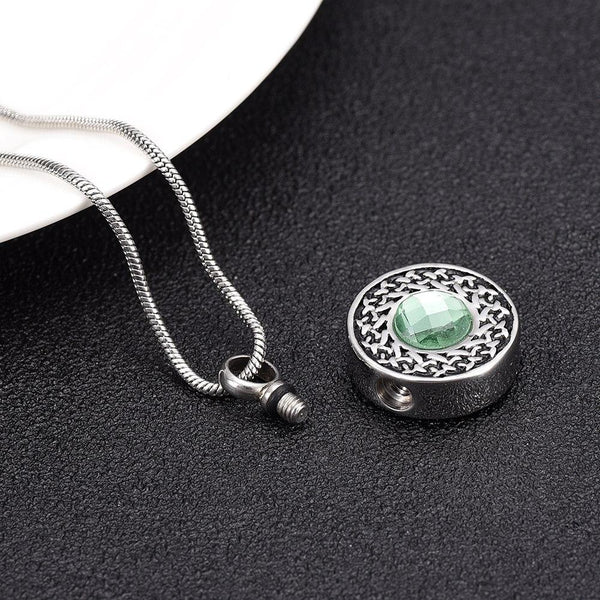 Cremation Necklace - Round Pendant Cremation Urn Necklace
