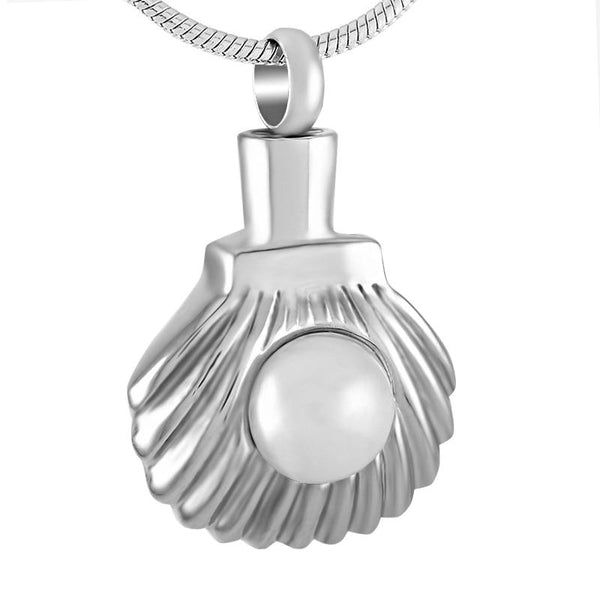 Cremation Necklace - Seashell & Pearl Cremation Urn Necklace