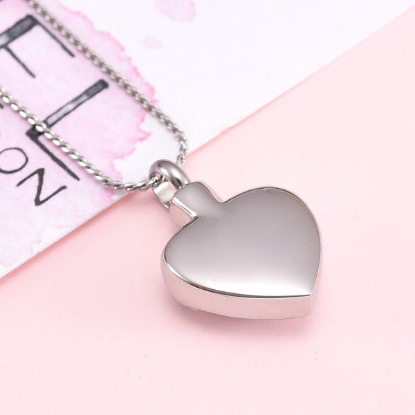 Cremation Necklace - Silver Always In My Heart Cremation Urn Necklace F