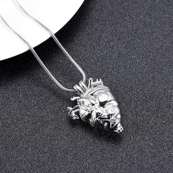 Cremation Necklace - Silver Anatomical Heart Cremation Urn Necklace