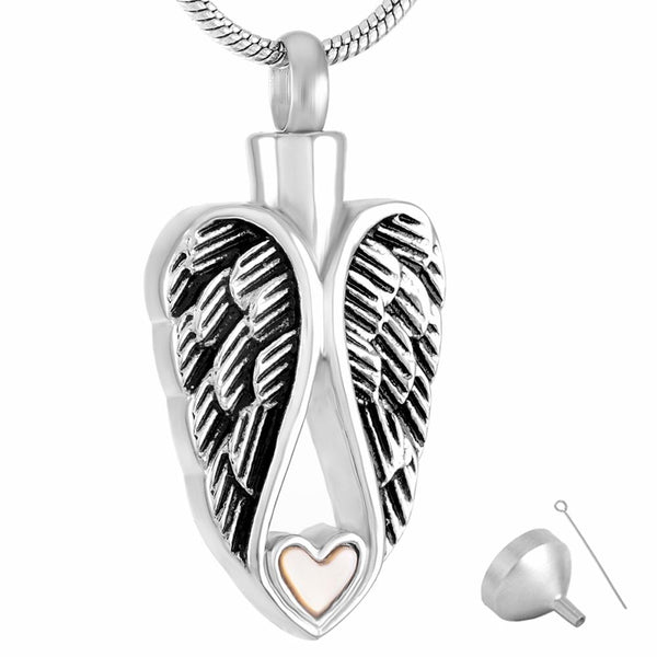 Cremation Necklace - Silver Angel Wings & Heart Cremation Urn Necklace