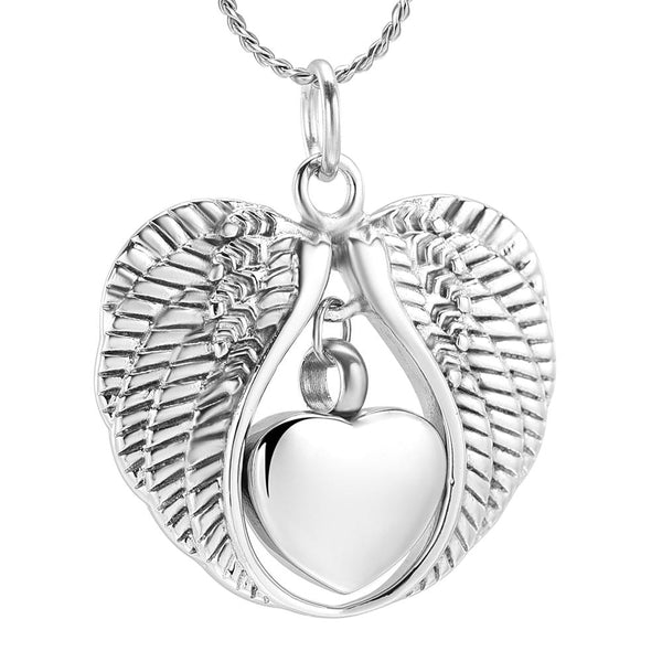 Cremation Necklace - Silver Angel Wings & Heart Cremation Urn Necklaces