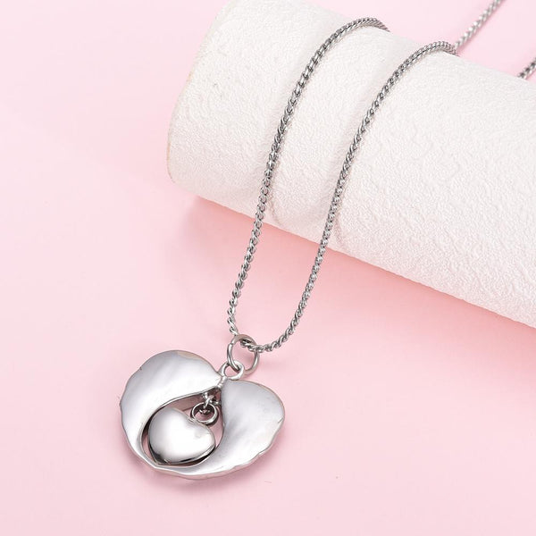 Cremation Necklace - Silver Angel Wings Heart Paw Print Cremation Urn Necklace