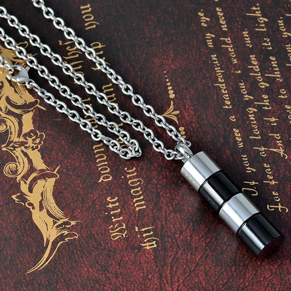 Cremation Necklace - Silver & Black Cylinder Cremation Urn Necklace