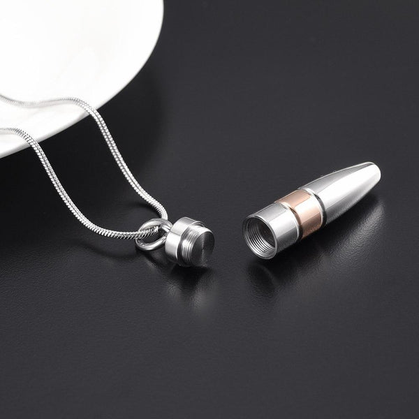 Cremation Necklace - Silver Bullet Shaped Cremation Urn