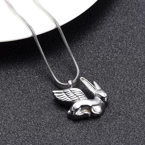 Cremation Necklace - Silver Bunny Angel Cremation Urn Necklace