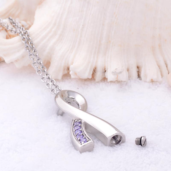 Cremation Necklace - Silver Cancer Ribbon Purple Rhinestone Cremation Urn Necklace
