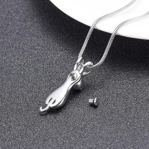 Cremation Necklace - Silver Cat Cremation Urn Necklace