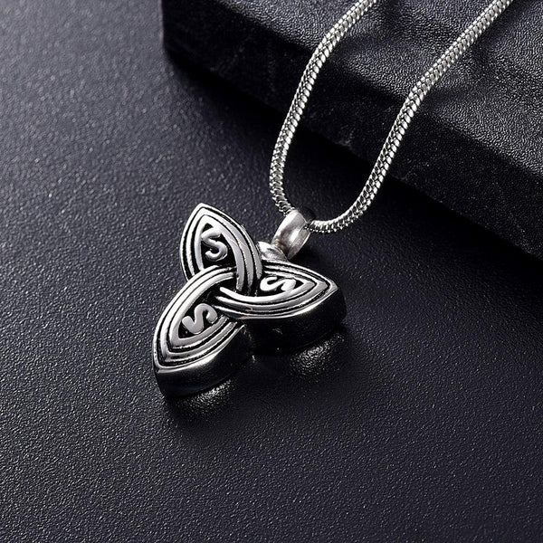 Cremation Necklace - Silver Celtic Knot Cremation Urn Necklace