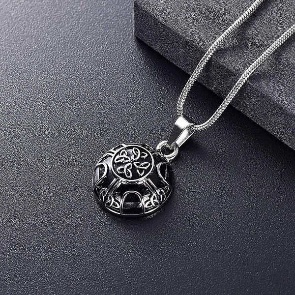 Cremation Necklace - Silver Celtic Style Circle Cremation Urn Necklace