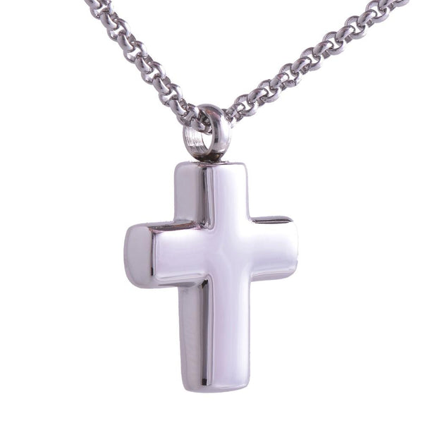 Cremation Necklace - Silver Christian Cross Cremation Necklace