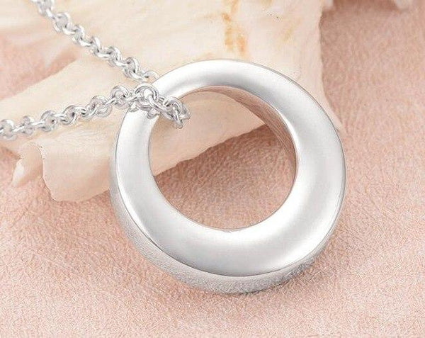 Cremation Necklace - Silver Circle Cremation Urn Necklace