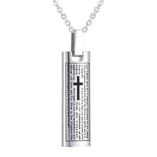 Cremation Necklace - Silver Cremation Urn Necklace Etched With The Lord's Prayer & Cross