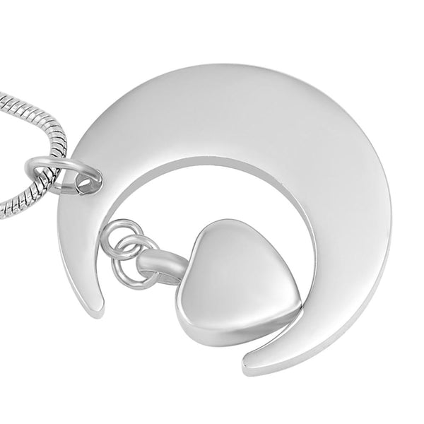 Cremation Necklace - Silver Crescent Moon Etched With 'I Love You To The Moon And Back' Cremation Urn Necklace & Dad Charm