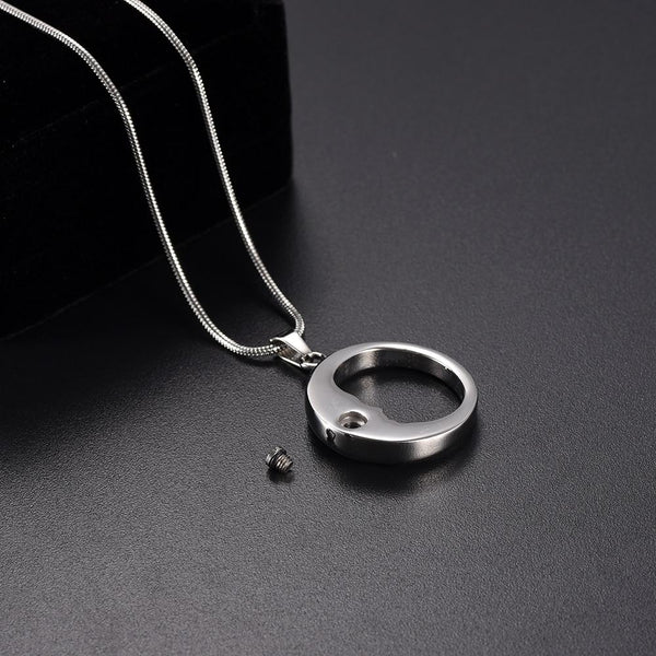 Cremation Necklace - Silver Crescent Moon Face Cremation Urn Necklace