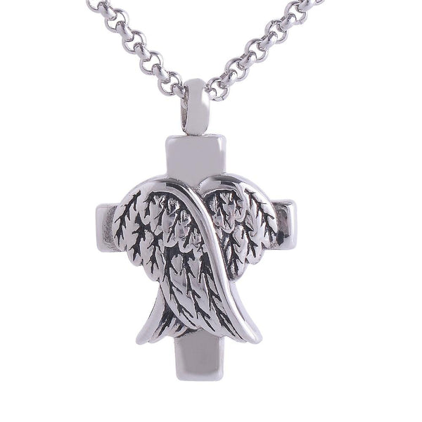 Cremation Necklace - Silver Cross And Angel Wings Cremation Urn Necklace