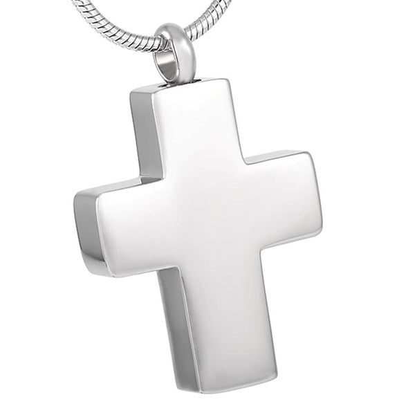 Cremation Necklace - Silver Cross Cremation Urn Necklace