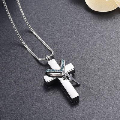 Cremation Necklace - Silver Cross & Rhinestone Rosary Cremation Urn Necklace