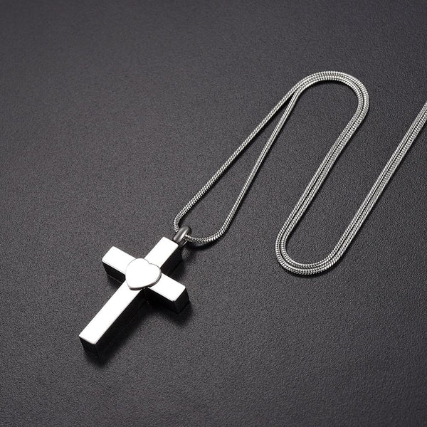 Cremation Necklace - Silver Cross With Heart Cremation Urn Necklace