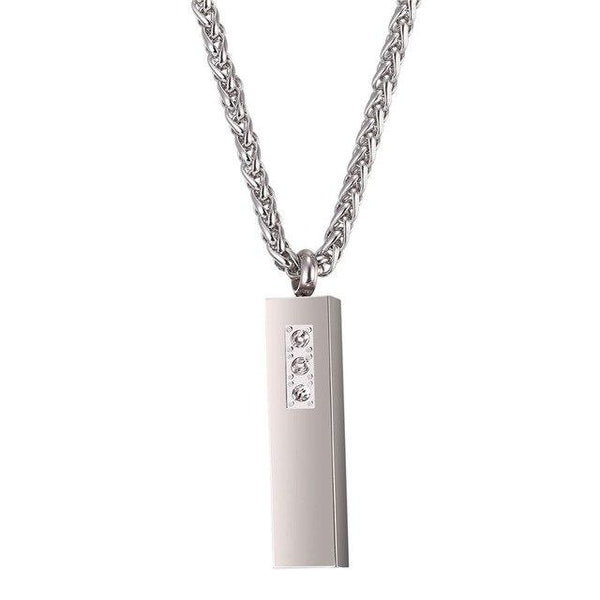 Cremation Necklace - Silver Cube & Rhinestone Cremation Urn Necklace