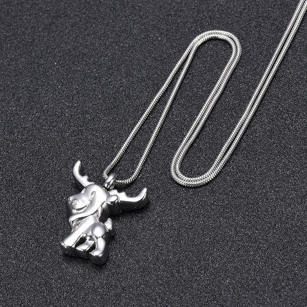 Cremation Necklace - Silver Cute Moose Cremation Urn Necklace