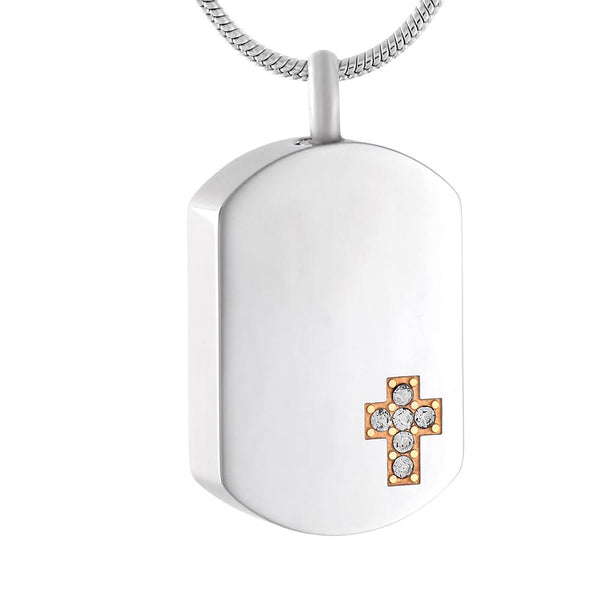 Cremation Necklace - Silver Dog Tag With Classic Cross Of Gold & Rhinestones Cremation Urn Necklace