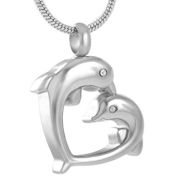 Cremation Necklace - Silver Dolphin Heart Shaped Cremation Urn Necklace With Rhinestones